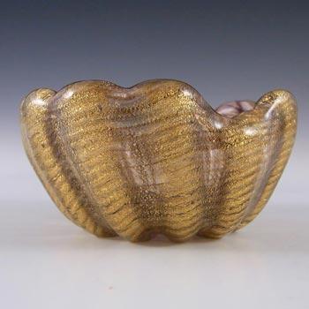 Barovier & Toso Murano Cordonato d'Oro Gold Leaf Glass Bowl
