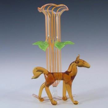 Bimini or Lauscha Orange & Brown Lampworked Glass Horse Vase