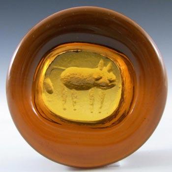 Kosta Boda Swedish Amber Glass Cat Bowl by Erik Hoglund