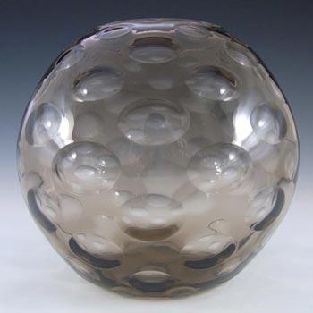 Borske Sklo Large Smoky Glass Optical 'Olives' Globe Vase