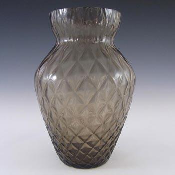 Borske Sklo 1950's Smoky Glass Optical 'Caro' Vase