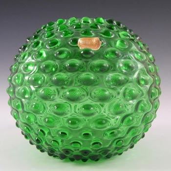 Borske Sklo 1950's Green Glass Spherical 'Knobble' Vase