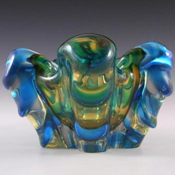 Japanese Amber & Blue Glass Organic Ribbed Sculpture Bowl
