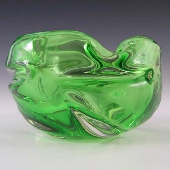 Czech Textured Green Cased Glass Sculpture Bowl