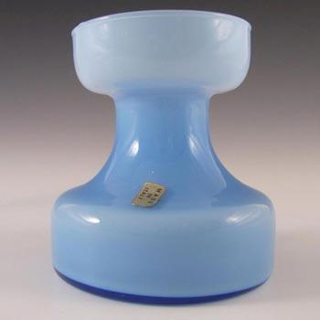 Empoli Italian Blue Cased Glass Vase - Labelled