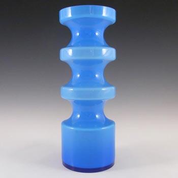 Alsterfors #S5014 Per Strom Blue Hooped Cased Glass Vase