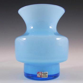 Lindshammar Gunnar Ander Swedish Blue Glass Vase - Label