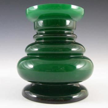 Scandinavian / Swedish Green Cased Glass Hooped Vase