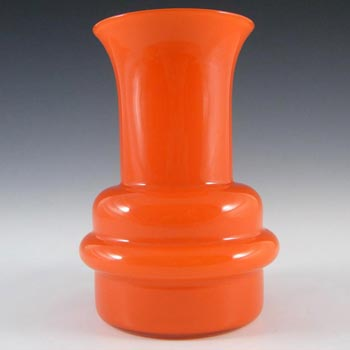 Swedish 1970's Orange Cased Hooped Glass Vase - Label