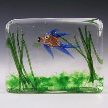 Cenedese Riccardo Licata Murano Glass Fish Aquarium Block Paperweight