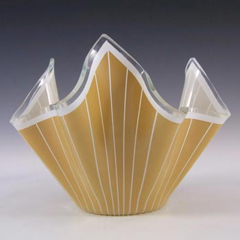 Chance Brothers Caramel Glass Cordon Handkerchief Vase