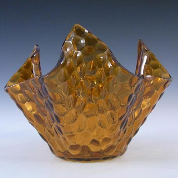 Chance Brothers Amber Glass 'Hammered' Handkerchief Vase