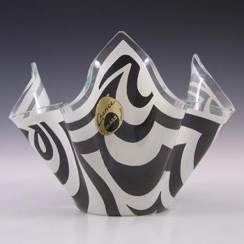 Chance Brothers Black Glass 'Psychedelic' Handkerchief Vase