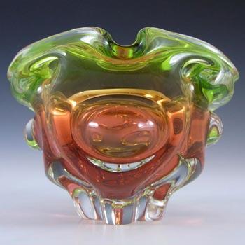 Chribska Czech Green & Orange Glass Vase/Bowl by Josef Hospodka