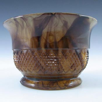 Davidson #1907T British Art Deco Amber Cloud Glass Bowl