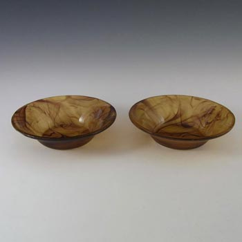 Davidson Pair of British Art Deco Amber Cloud Glass Bowls