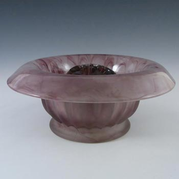 Davidson #1910BD Art Deco Purple Cloud Glass Flower Bowl Set