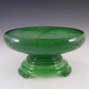 Davidson #21 Large Art Deco Green Cloud Glass Bowl