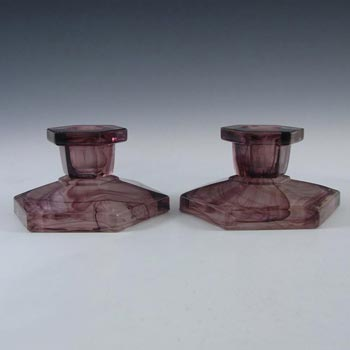 Davidson #283/S British Art Deco Purple Cloud Glass Candlesticks