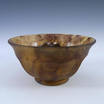 Davidson #248F British Art Deco Amber Cloud Glass Bowl