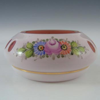 Crystalex Czech Enamelled Pink & White Overlay / Cut Glass Bowl - Label