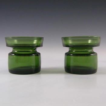Dansk Pair of Scandinavian Green Glass Candle Holders - Marked