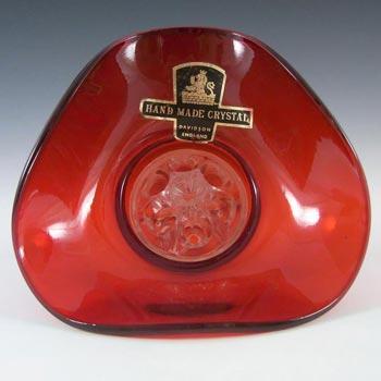 Davidson British Red Glass Posy Bowl - Labelled