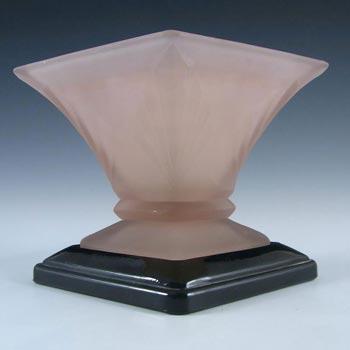 Bagley #3180 Art Deco Frosted Pink Glass 'Spinette' Vase