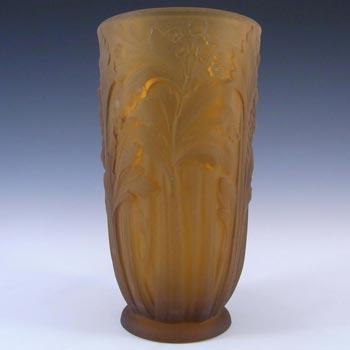 Jobling #11800 1930's Amber Art Deco Glass Celery Vase