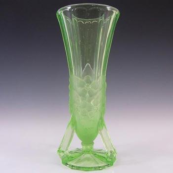 Jobling #11600 1930's Art Deco Uranium Glass 'Open Footed' Vase