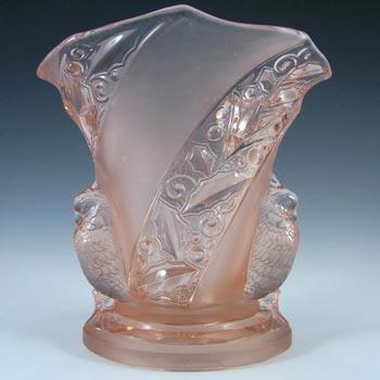 Brockwitz Art Deco Pink Glass 'Parakeet' Bird Vase