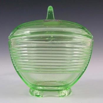 Czech Art Deco Uranium Glass Trinket Bowl - Labelled