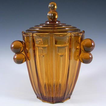 Art Deco 1930's Amber Glass Lidded Bowl /Jar /Biscuit Barrel
