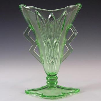 Stölzle Czech Art Deco 1930's Uranium Green Glass Vase