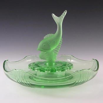 Josef Inwald Art Deco Green Glass Fish Centrepiece Set