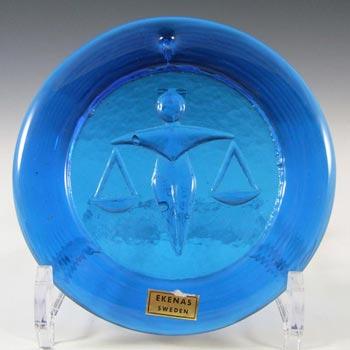 Ekenas Swedish Blue Glass Zodiac 'Libra' Suncatcher - Label