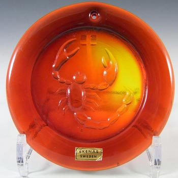 Ekenas Swedish Orange Glass Zodiac 'Scorpio' Suncatcher
