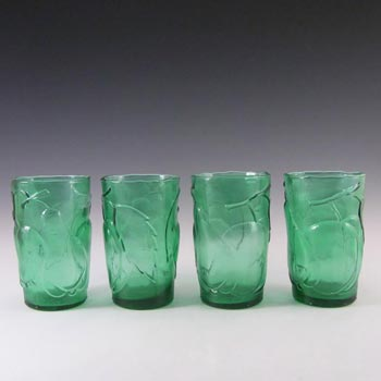 Empoli Italian Green Glass Fruit Tumblers x 4 - Marked