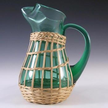 Empoli Verde Italian Green Glass + Wicker Jug / Pitcher