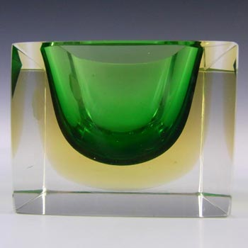Murano Faceted Green & Amber Sommerso Glass Bowl - Label