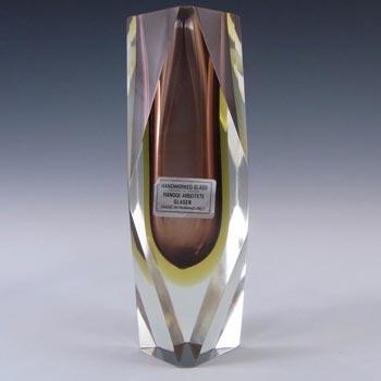 Murano/Venetian Faceted Amber Sommerso Glass Vase - Label