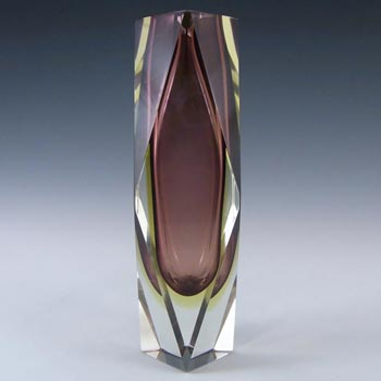Murano Faceted Purple & Amber Sommerso Glass Vase