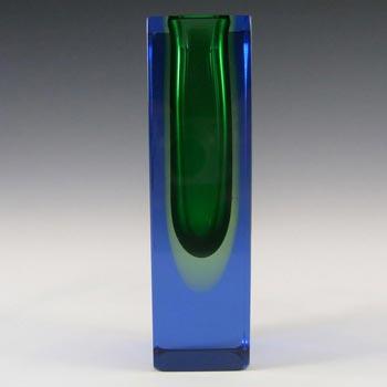 Murano/Sommerso Faceted Uranium Glass Block Vase