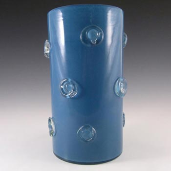 French Blue Glass Vase - Signed 'France Gellows UR 63'