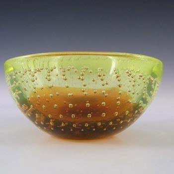 Galliano Ferro Murano Bullicante Amber & Uranium Glass Bowl