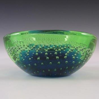 Galliano Ferro Murano Bullicante Blue & Green Glass Bowl