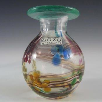 Gozo Maltese Glass Spots + Stripes Vase - Signed + Labelled