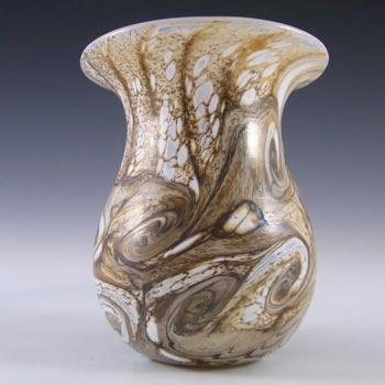 Gozo Maltese Marbled Brown Glass 'Stone' Vase - Signed
