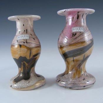 2 x Gozo Maltese Glass 'Seashell' Candlesticks - Signed