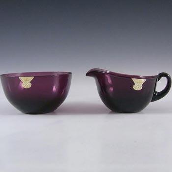 Gullaskruf Swedish Purple Glass Bowl + Creamer - William Stenberg